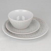 12 Piece Geometric Blossom Dinner Set - Grey