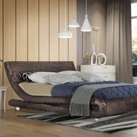 Modern Curved Brown Crushed Velvet Bed Frame - Double