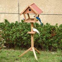 Wooden Bird Feeder Stand for Garden - Natural