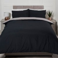 Riley Reversible Duvet Cover and Pillowcase Set - Black/Grey / Double