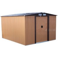 BIRCHTREE Metal Garden Shed With Free Foundation - Yellow Coffee / 10ft X 8ft