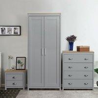 Bedroom Furniture Set 2 Door Wardrobe Bedside Table Chest Drawers - Grey