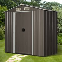6x3.6ft Corrugated Metal Garden Shed - Grey and white