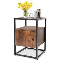 Dripex Bedside Table with Door Side Table Drawer