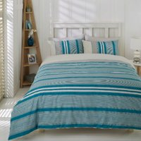 Marlow Stripe Duvet Cover and Pillowcase Set - Petrol / Single