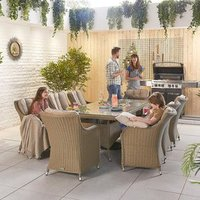 Camilla 8 Seat Rec Dining Set - Willow