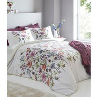Cassandra Duvet Cover and Pillowcase Set - White/Burgundy / Double