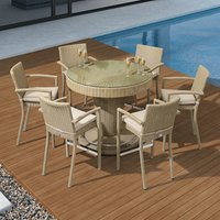 Nova Henley Six Seater With Round Bar Set - Willow