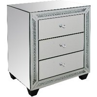 'Aurora Crystal Mirrored Three Drawer Bedside Table