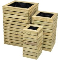 Set of 3 Contemporary Slatted Planters