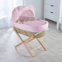 Pink Waffle Moses Basket with Natural Opal Folding Stand