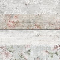 'Distressed Wood Floral Wallpaper - Natural