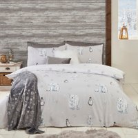 Polar Bear and Penguin Printed Duvet Cover and Pillowcase Set - Single