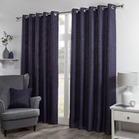 Bucking Blackout Eyelet Curtains - Navy / 183cm / 168cm
