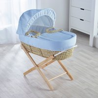 Blue Waffle Moses Basket with Natural Opal Folding Stand