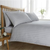 Satin Stripe 200 Thread Count Duvet Cover and Pillowcase Set - Silver / Double
