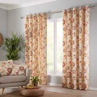 Charleston Terracotta Eyelet Curtains - Orange / 117cm / 137cm