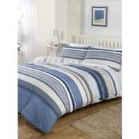 Meredith Stripe Print Duvet Cover and Pillowcase Set - Blue / Single