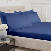 180 Thread Count Cotton Fitted Sheet  - Navy / Single