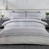 Haven Stripe Duvet Cover and Pillowcase Set - Silver / King