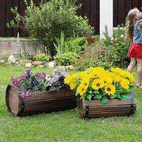 2PCs Wooden Planter Box Flower Plant - Brown
