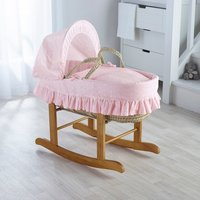 Broderie Anglaise Pink Moses Basket with Natural Little Gem Rocking Stand