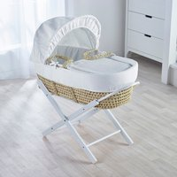 White Waffle Moses Basket with White Opal Folding Stand