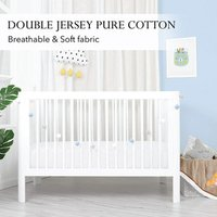 'Double Jersey 2 X Baby Fitted Cot Crib Bed Sheet White - White / Small Single