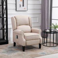 Heated Massage Reclining Armchair with Footrest - Beige