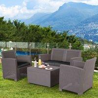 Garden PP Rattan Style Sofa Table Set  - Grey
