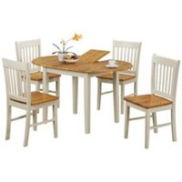 Kentucky Extending Dining Table and Four Chairs Set - Oak /