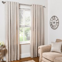 Diamond Geo Jacquard Eyelet Curtains - Natural / 137cm / 117cm