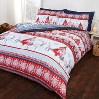 Forest Stag Red Printed Duvet Cover and Pillowcase Set - Red / Double