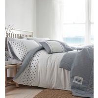 New England Duvet Cover and Pillowcase Set  - Navy/White / Super King