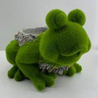 Flocked Frog Planter
