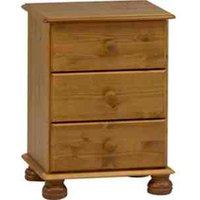 Richmond Three Drawer Bedside Table - Pine