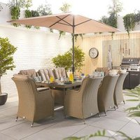 Thalia 8 Seat Rec Dining Set - Willow