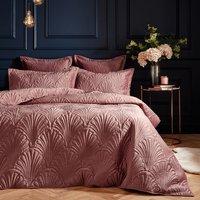Quilted Velvet Duvet Cover Set - Pink / 228cm / King