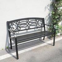 Garden Bench,Floral Pattern - Black