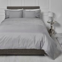 Crosshatch Embossed Panel Duvet Cover and Pillowcase Set - Charcoal / King