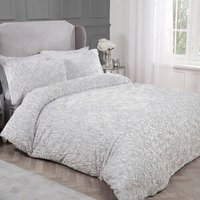 Rose Faux Fur Duvet Cover and Pillowcase Set - Silver / Double