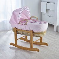 Pink Butterfly Moses Basket with Natural Little Gem Rocking Stand