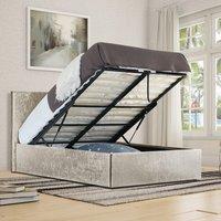 Cream Crush Velvet Storage Ottoman Bed Frame  - Double