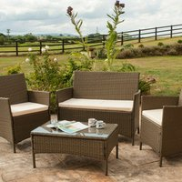 4 Piece Rattan Garden Furniture Set with Cover - Brown