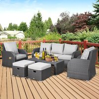 Rattan 7 Seater Sofa, Table and Footstool Set - Grey