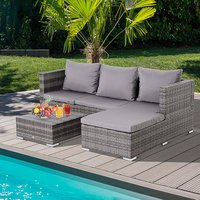 3 Piece PE Rattan Reclining Sofa Set with 2 Loveseat - Mixed Grey