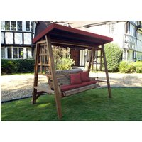 Charles Taylor Dorset Three Seater Swing with Seat Cushion and Roof Cover - Redwood/Burgundy