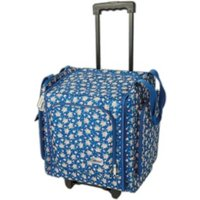 Papermania Wheelable Floral Craft Tote - Navy Floral