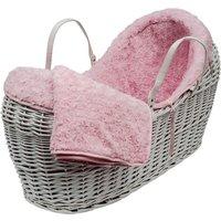 Pink Rose Swirl on White Pod Moses Basket - Pink