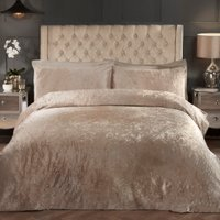 Prince Crushed Velvet Duvet Cover and Pillowcase Set - Gold / Double